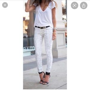 Cream 7 For All Mankind snake skin jeans